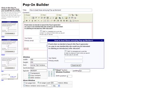 Создаем всплывающее окно в сервисе popinbuilder.icoder.com