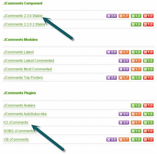 Установка комментариев Jcomments в компонент K2